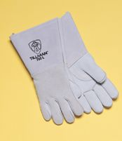 "Tillman+ Large Pearl Gray 14"" Top Grain Elk Cotton/Foam Lined Welders Gloves With Straight Thumb, Stiff Cowhide Cuff, Welted Fin"