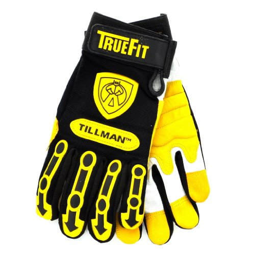 Tillman X-Large Black And Gold TrueFit Super Premium Full Finger Top Grain Goatskin And Spandex Mechanics Gloves With Elastic Cu