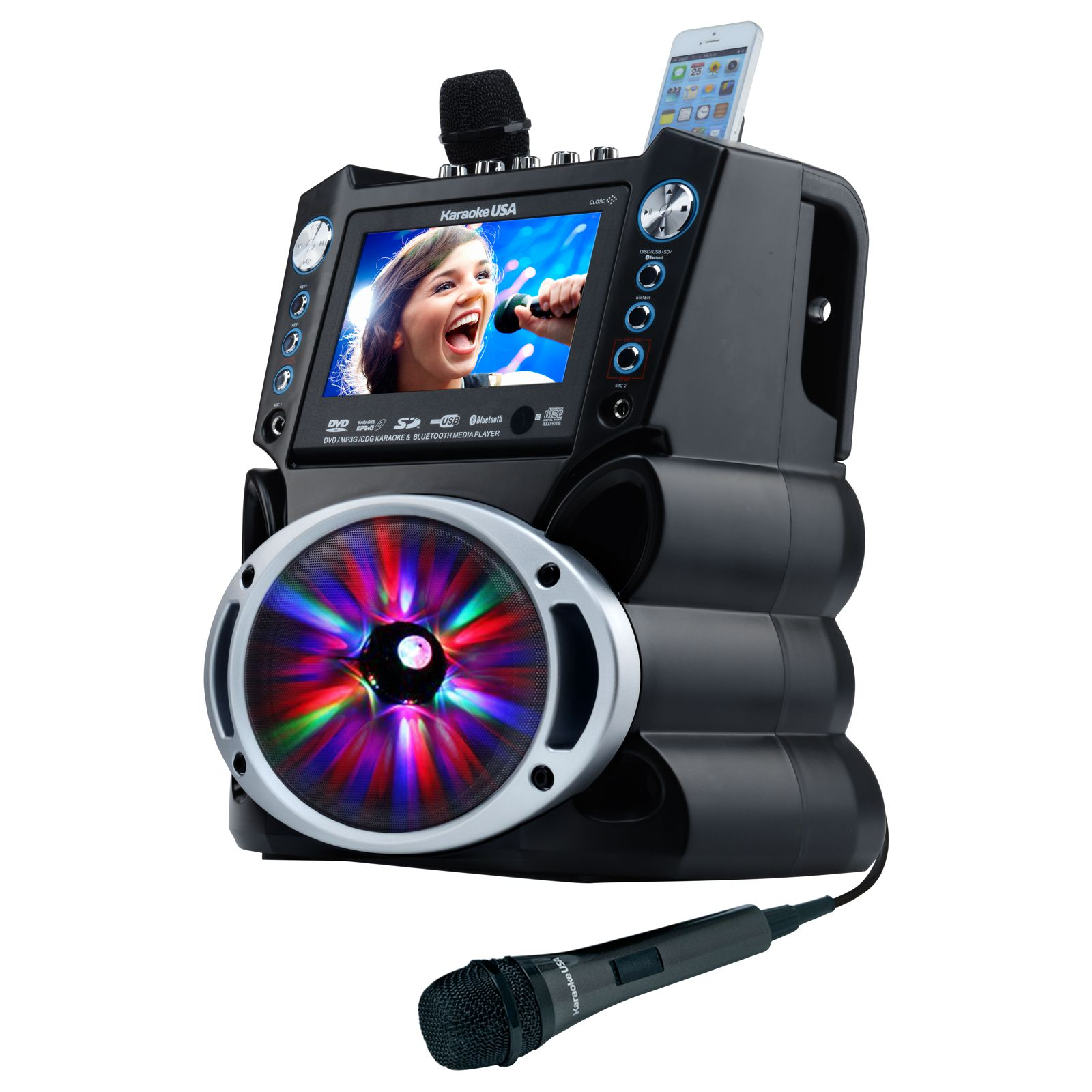 KARAOKE USA GF842 KARAOKE SYSTEM 7INCH COLOR SCREEN RECORDING