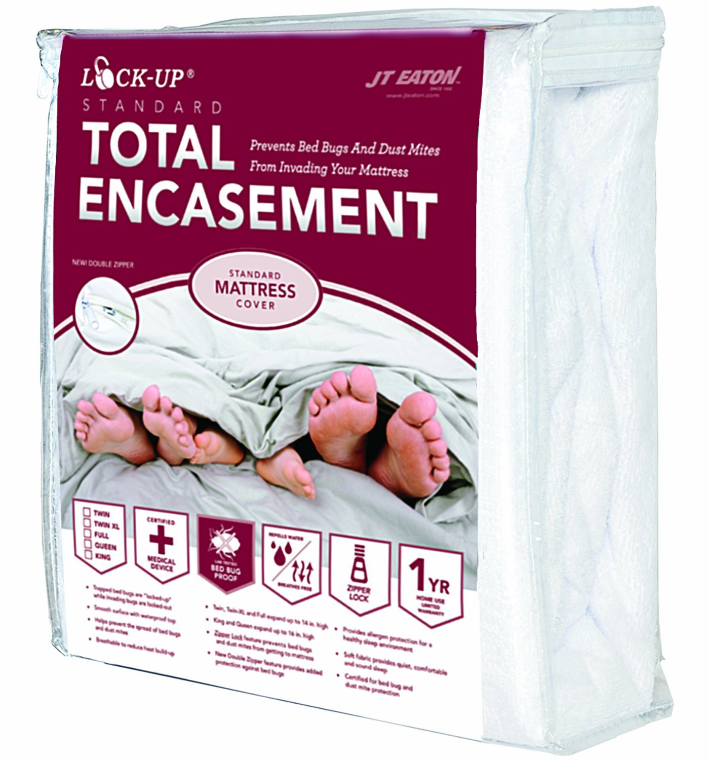 Lock-Up 83 TwinXL Size Mattress Encasement, 39 in L X 80 in W X 14 in H