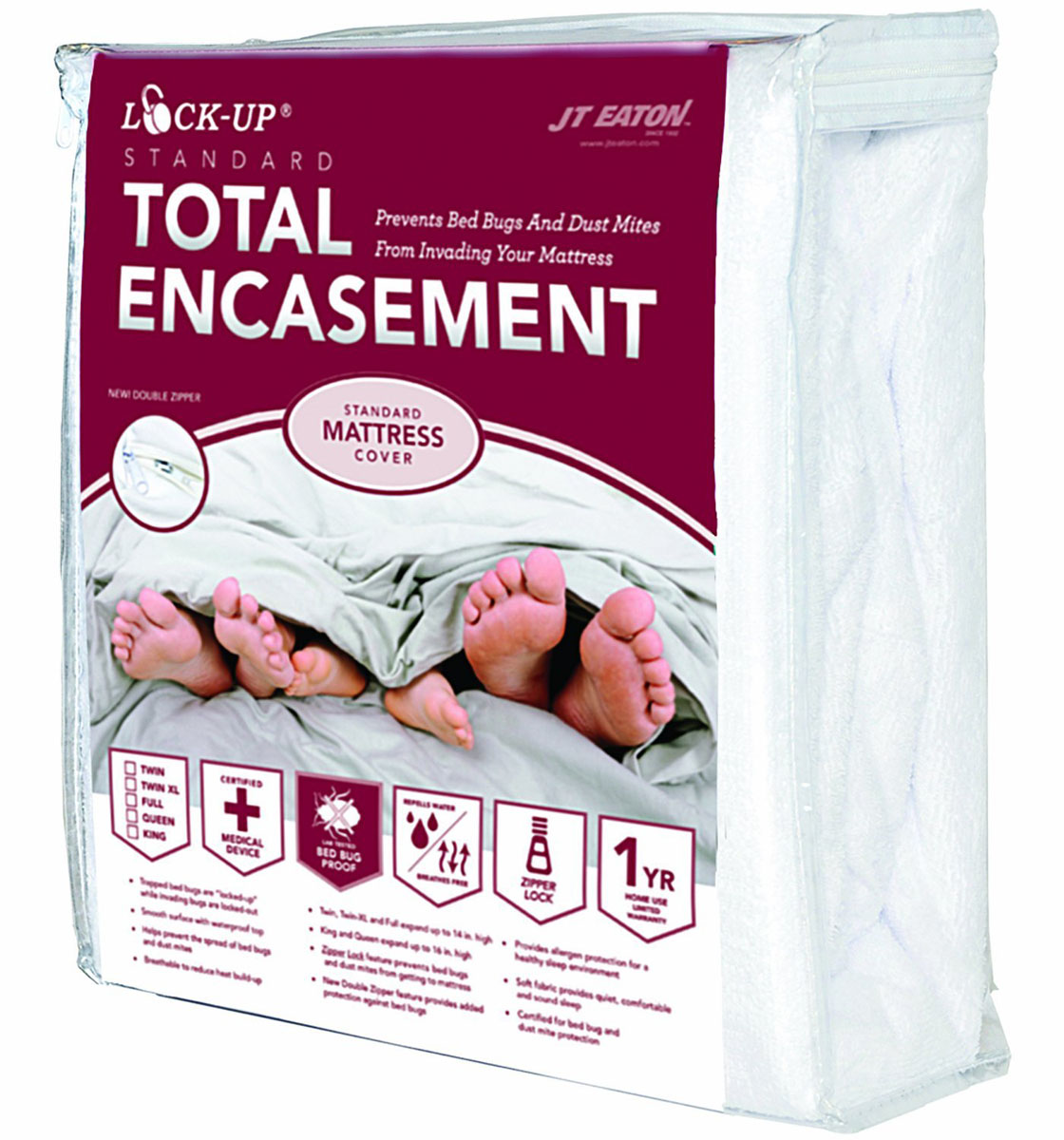 JT EATON� BED BUG LOCK-UP� TOTAL ENCASEMENT MATTRESS COVER, TWIN XL