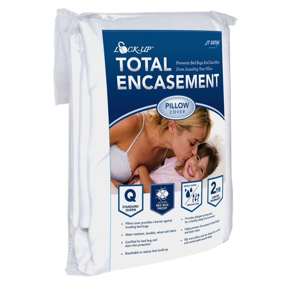 JT EATON� BED BUG LOCK-UP� TOTAL ENCASEMENT PILLOW COVER, QUEEN