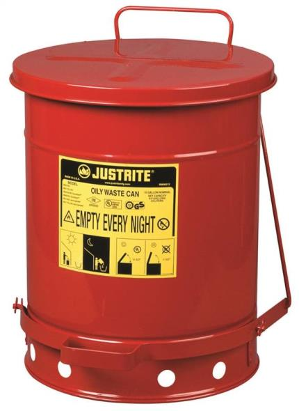 Justrite 09300 Oily Waste Can, 10 gal, 13.937 in Dia X 18-1/4 in L, Foot Operated Self Closing Closure, Red