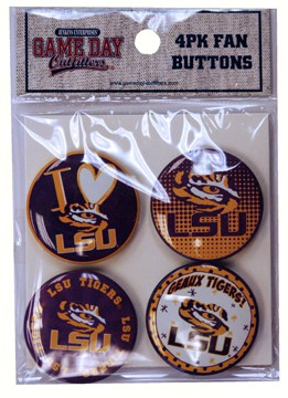 Button Set 1.25 Inches (4 pack) LSU Tigers
