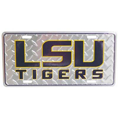 Car Tag Diamond Plate - LSU Tigers