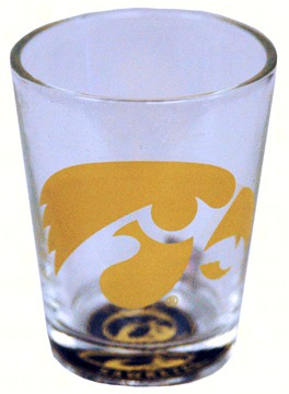 Shot Glass Bullseye Bottom - Iowa Hawkeyes