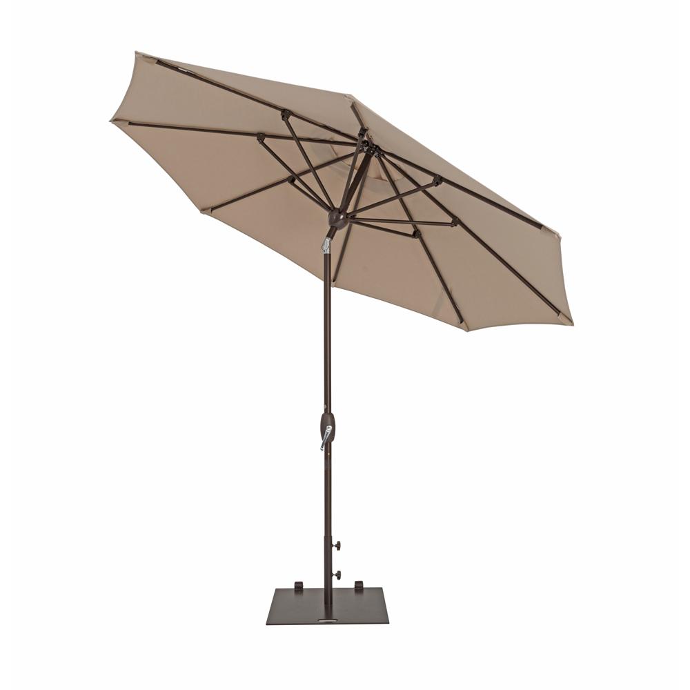 TrueShade Plus 9' Market Umbrella with Auto Tilt and Crank Antique Beige