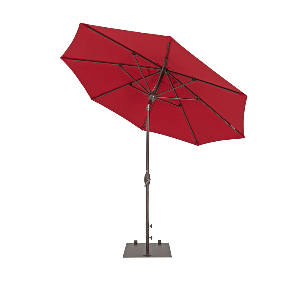 TrueShade Plus 9' Market Umbrella with Auto Tilt and Crank Jockey Red