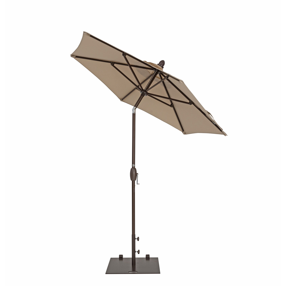 TrueShade Plus 7' Garden Parasol with Push Button Tilt and Crank Antique Beige