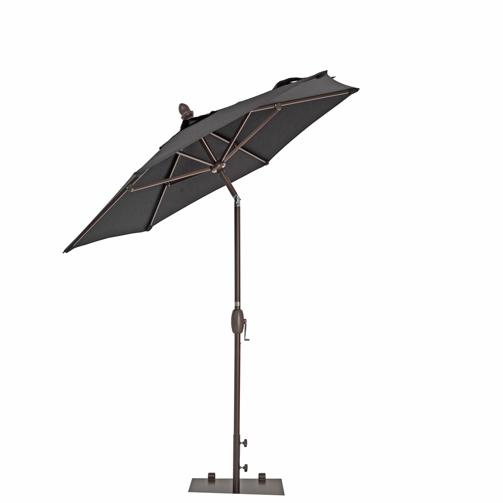 TrueShade Plus 7' Garden Parasol with Push Button Tilt and Crank Black
