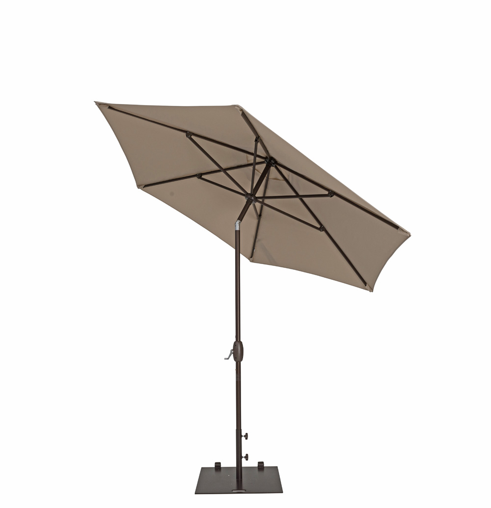 TrueShade Plus 9' Garden Parasol with Push Button Tilt and Crank Antique Beige