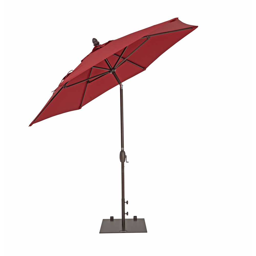 TrueShade Plus 9' Garden Parasol with Push Button Tilt and Crank Jockey Red