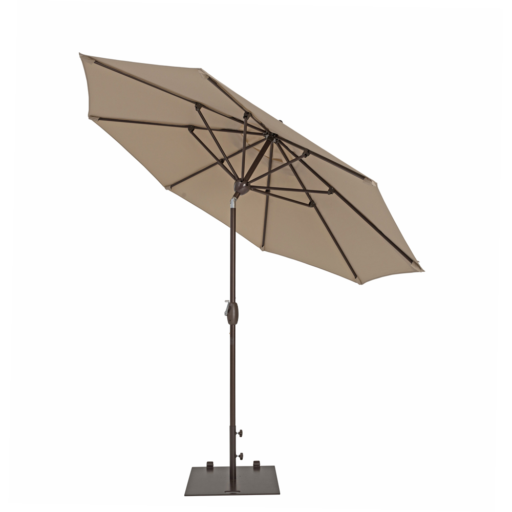 TrueShade Plus 9' Market Umbrella with Push Button Tilt Antique Beige