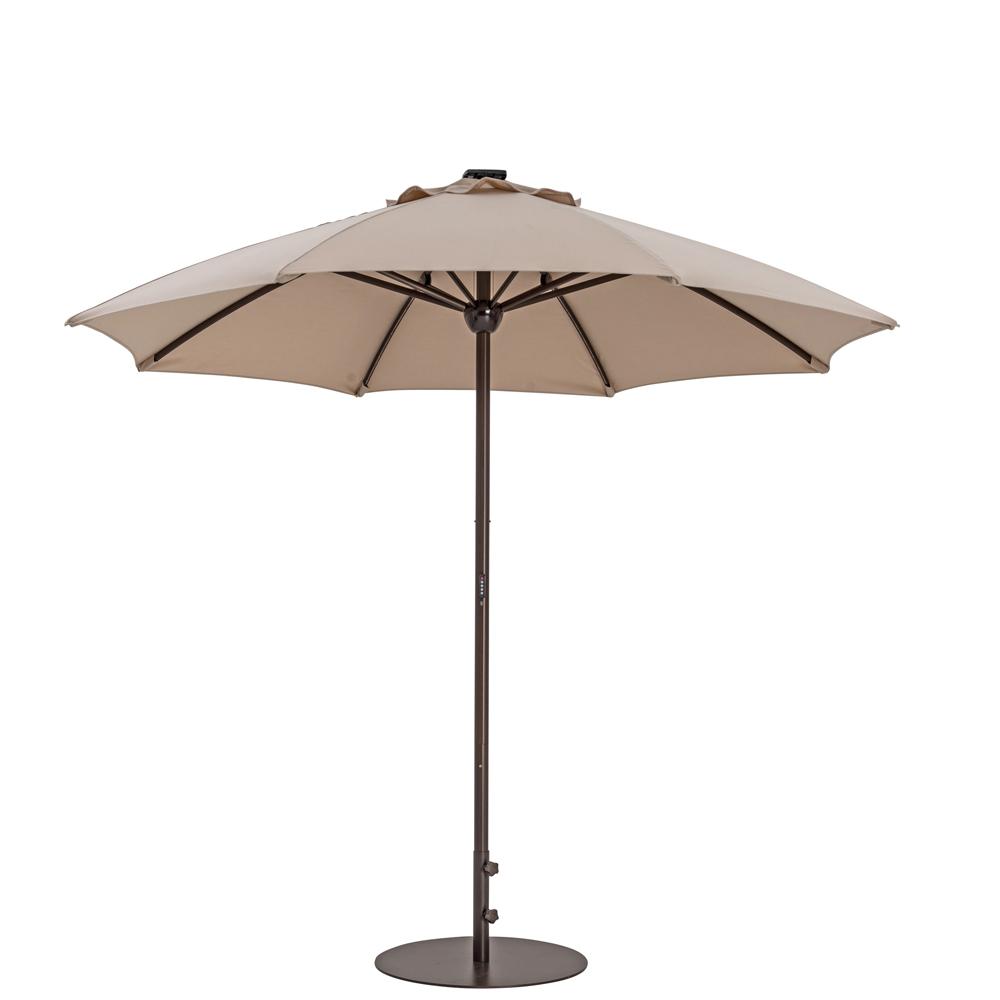 TrueShade Plus 9' Automatic Market Umbrella w/Lights Antique Beige