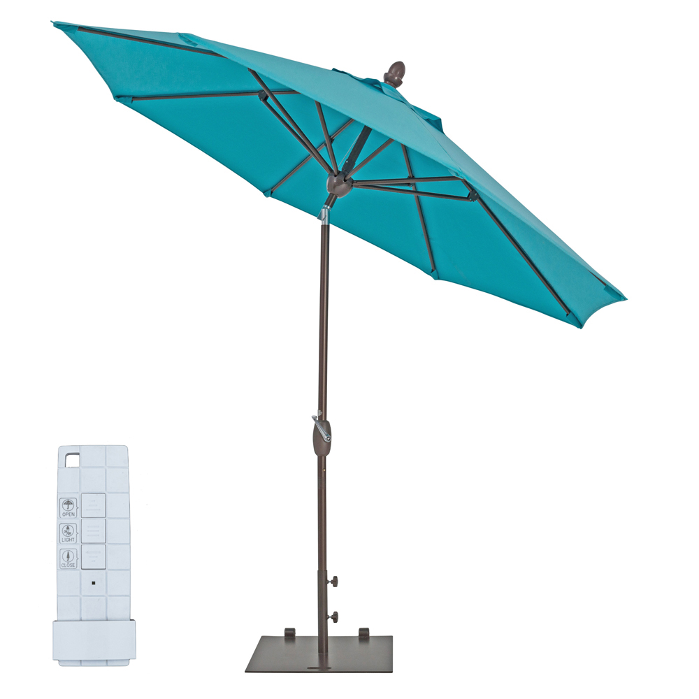 TrueShade Plus 9' Automatic Market Umbrella w/Lights Aruba