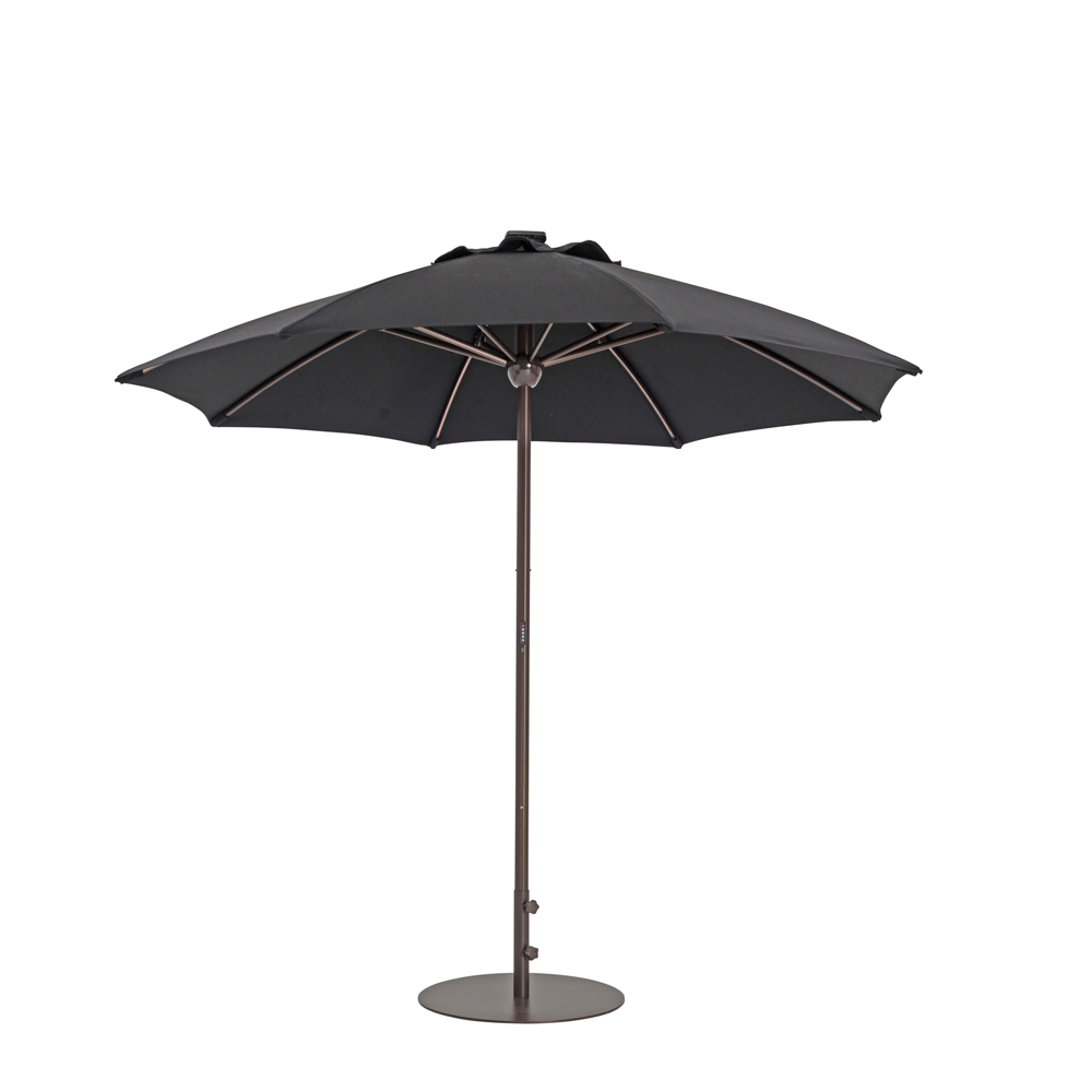TrueShade Plus 9' Automatic Market Umbrella w/Lights Black