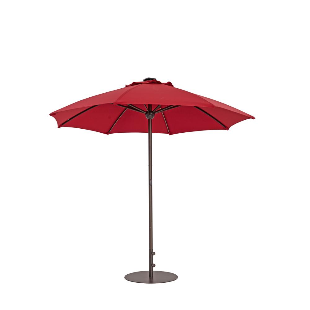 TrueShade Plus 9' Automatic Market Umbrella w/Lights Jockey Red