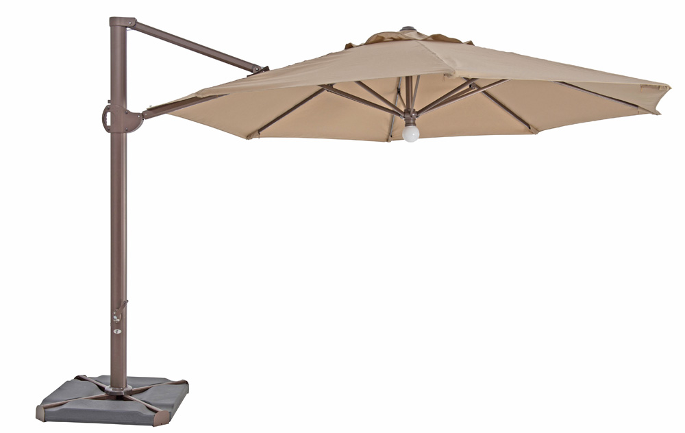 TrueShade Plus 11.5' Cantilever Octagon Umbrella W/Light Heather Beige
