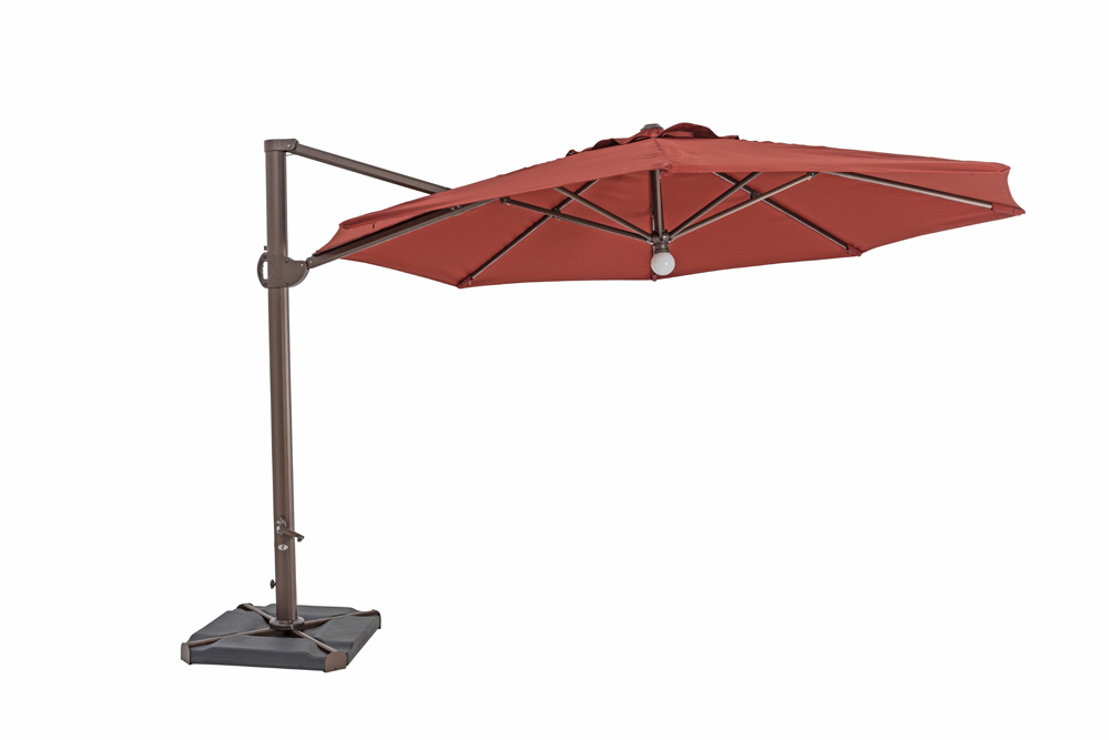 TrueShade Plus 11.5' Cantilever Octagon Umbrella W/Light Henna