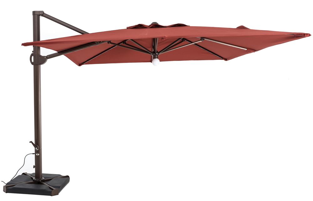 TrueShade Plus 10' x 10' Cantilever Square Umbrella W/Light Henna