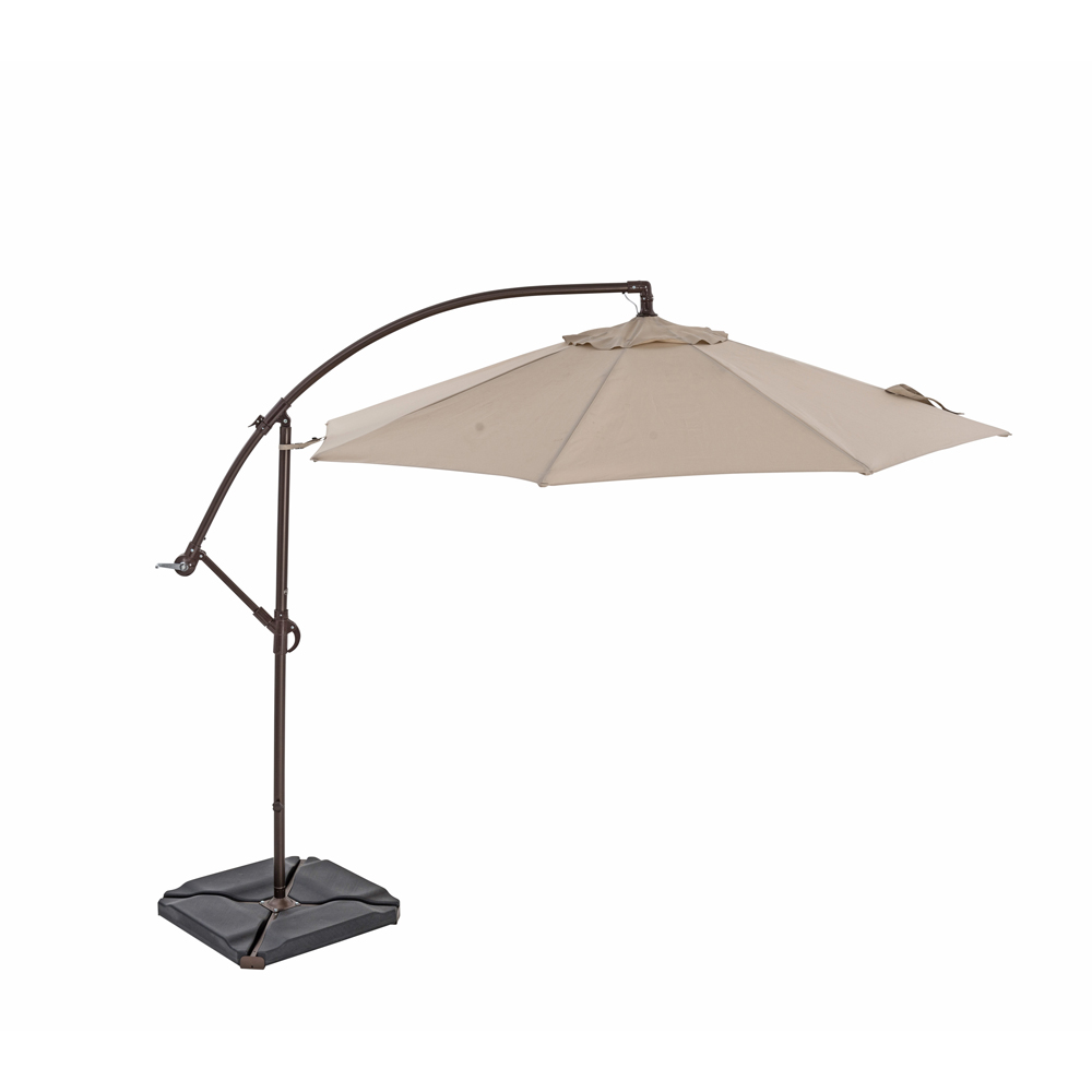TrueShade Plus 10' Cantilever Round Umbrella w/Light Antique Beige