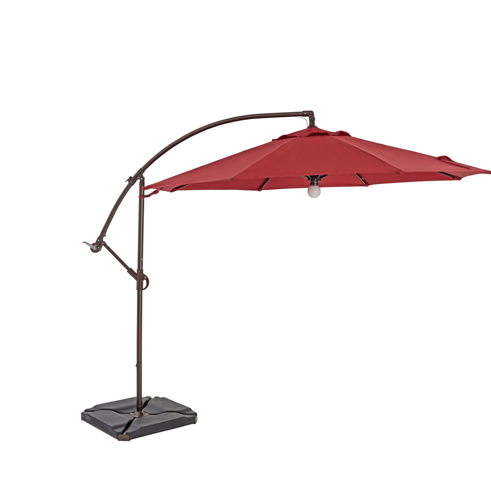 TrueShade Plus 10' Cantilever Round Umbrella w/Light Jockey Red