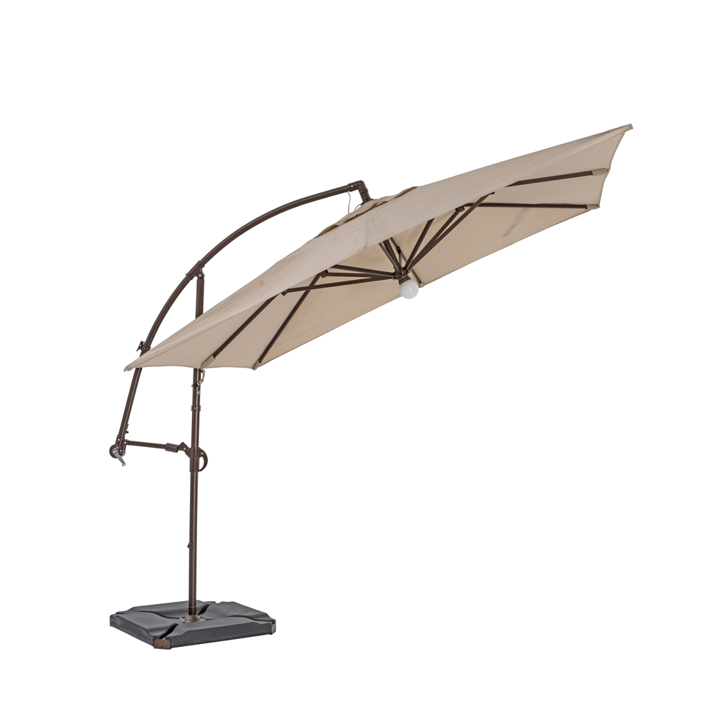TrueShade Plus 9' Cantilever Square Umbrella W/Light Antique Beige