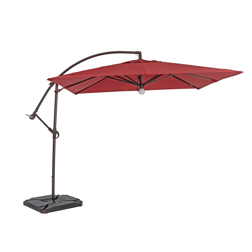 TrueShade Plus 9' Cantilever Square Umbrella W/Light Jockey Red