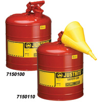 Justrite+ 2 Gallon Red Type 1 Safety Can With Staiinless Steel Flame Arrestor For Use With Flammable Liquids1G/4L SAFE CAN RED