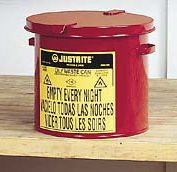 Justrite+ 2 Gallon Red Oily Waste Countertop Can