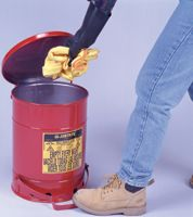 Justrite+ 6 Gallon Red Oily Waste Can With Foot Lever Opening Device