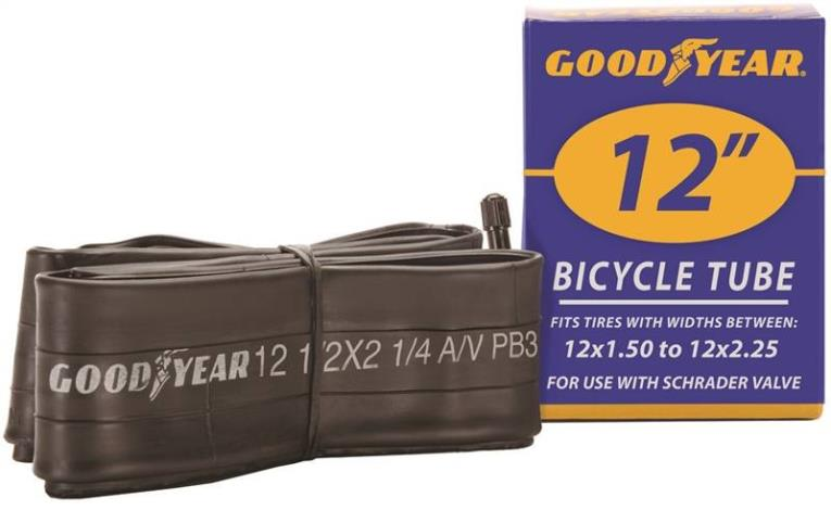 Goodyear 91073 Bicycle Tube, For Use With 12 in x 1-1/2 - 2-1/4 in Width Bicycle Tire, Butyl Rubber, Black