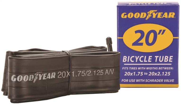 Goodyear 91077 Bicycle Tube, For Use With 20 in x 1-3/4 - 2-1/8 in Width Bicycle Tires, Butyl Rubber, Black