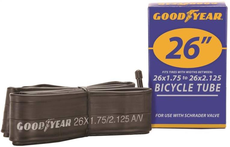 Goodyear 91079 Bicycle Tube, For Use With 26 in x 1-3/4 - 2-1/8 in Width Bicycle Tires, Butyl Rubber, Black