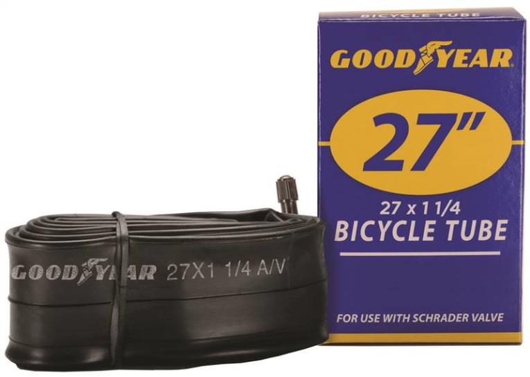Goodyear 91081 Bicycle Tube, For Use With 27 x 1-1/4 in Width Bicycle Tires, Butyl Rubber, Black