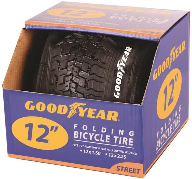 Goodyear 91050 Folding Bike Tire, For Use With 12-1/2 in x 1-1/2 - 2-1/4 in Rim, Black