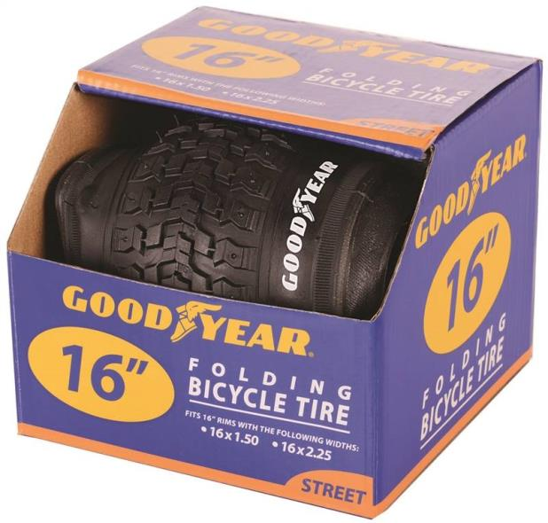 Goodyear 91052 Folding Bike Tire, For Use With 16 in x 1-1/2 - 2-1/4 in Rim, Black