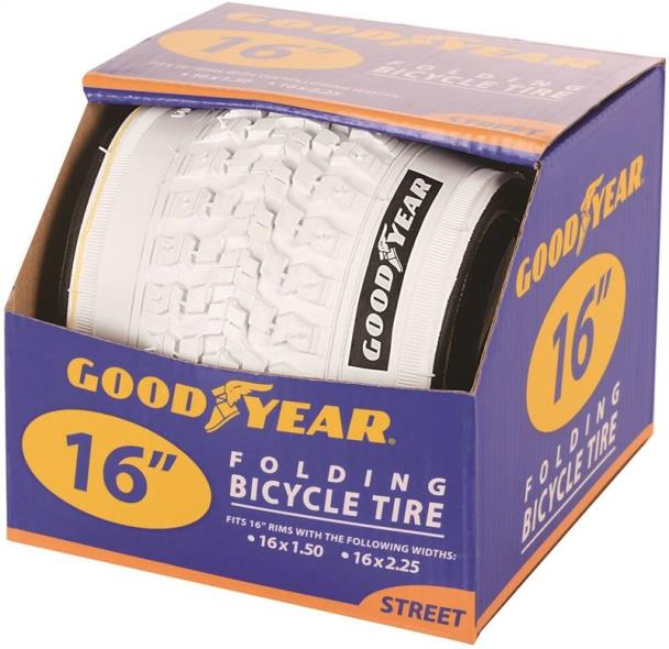 Goodyear 91053 Folding Bike Tire, For Use With 16 in x 1-1/2 - 2-1/4 in Rim, White