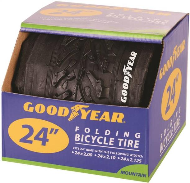 Goodyear 91057 Folding Mountain Bike Tire, For Use With 24 in x 2 - 2.10 - 2-1/8 in Rim, Black