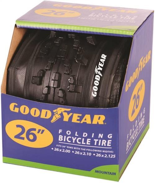 Goodyear 91059 Folding Mountain Bike Tire, For Use With 26 in x 2 - 2.10 - 2-1/8 in Rim, Black