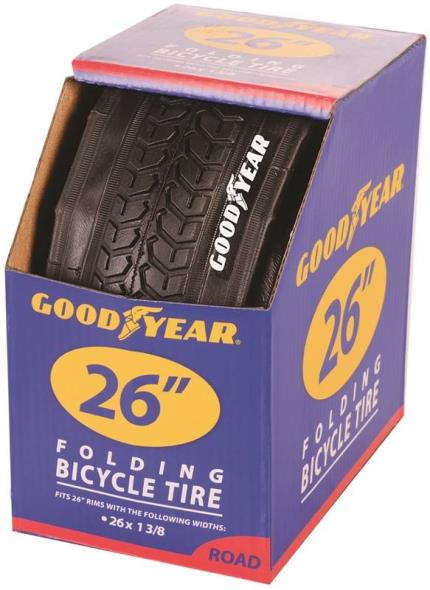 Goodyear 91062 Folding Bike Tire, For Use With 26 x 1-3/8 in Rim, Black