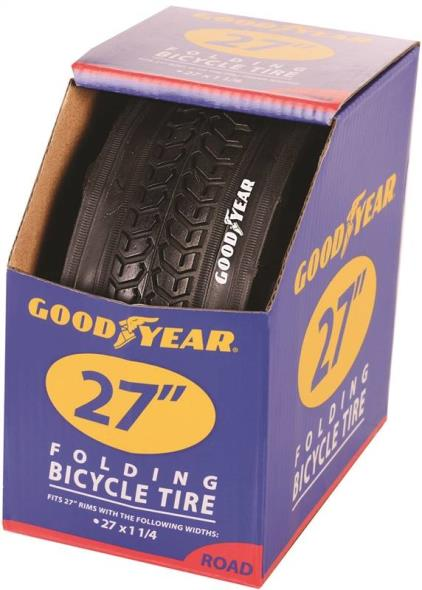 Goodyear 91063 Folding Road Tire, For Use With 27 in x 1-1/4 in Rim, Black