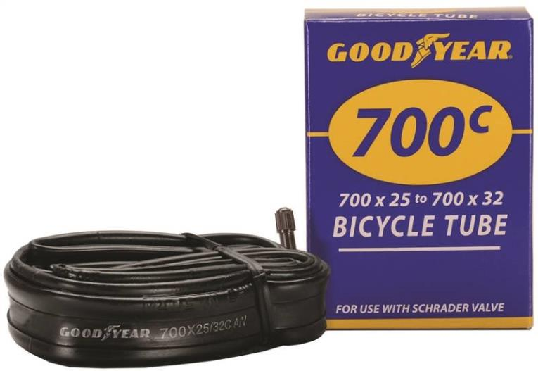Goodyear 91082 Bicycle Tube, For Use With 700c x 25 - 700c x 32 Width Bicycle Tires, Butyl Rubber, Black