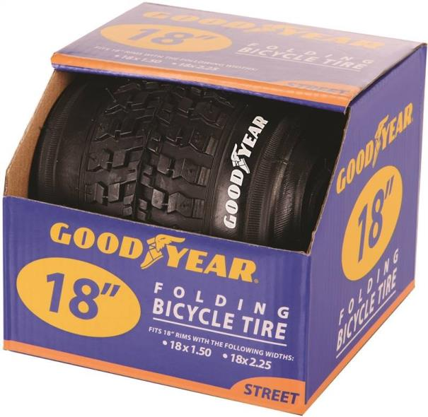 Goodyear 91054 Folding Bike Tire, For Use With 18 in x 1-1/2 - 2-1/2 in Rim, Black