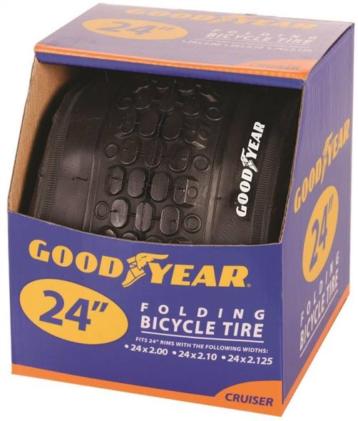 Goodyear 91058 Folding Cruiser Tire, For Use With 24 in x 2 - 2.10 - 2-1/8 in Rim, Black