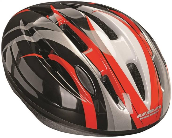 Kent 97536 Bicycle Helmets, V-14, Gloss Black with Red Swirl