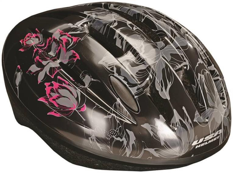 HELMET ADULT BLK W/LOTUSFLOWER