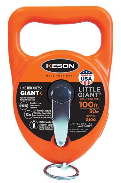 Keson G100 Chalk Line Reel, 100 ft L, 15 oz Capacity