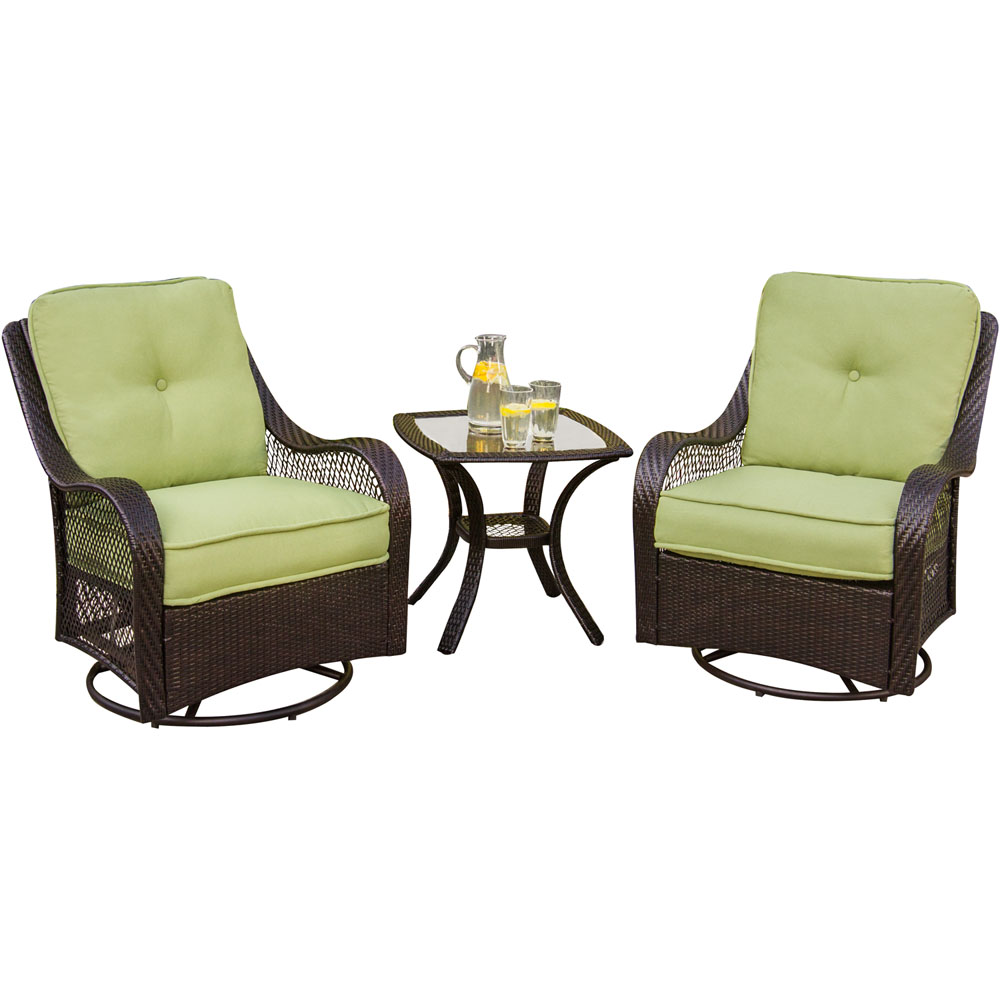 St. Charles Steel Woven Swivel Glider with Seat & Back Cushions