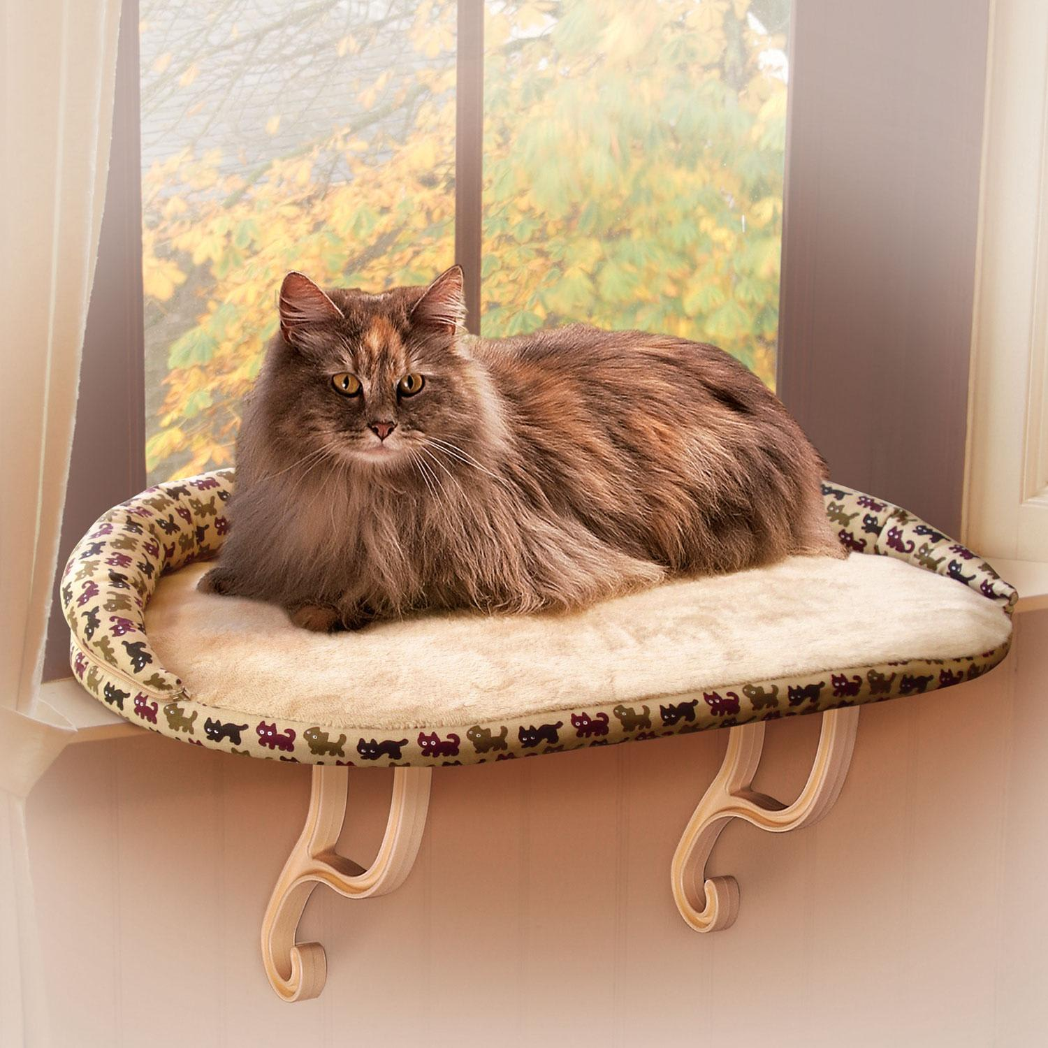 Deluxe Kitty Sill with Bolster Tan